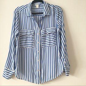 H&M Blue and White Striped Button Down Shirt